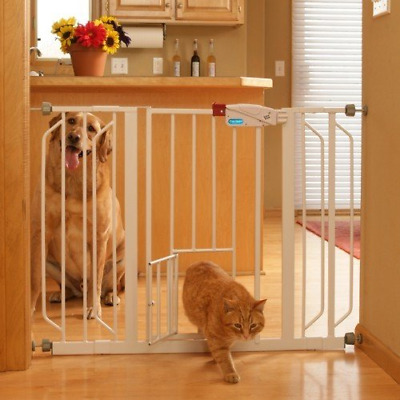 Pet Safety Gate, with Walk Through Door for Cats and Dogs - Extra wide Easy Fit