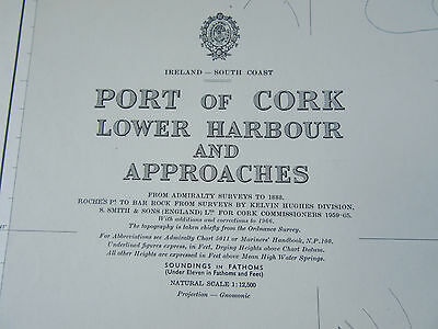 """1977 - PORT of CORK Lower Harbour & Approaches IRELAND SEA MAP Chart 28"""" x 41"""""""