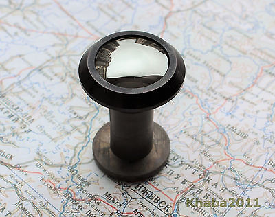 180 Degree Russian Peephole Door Viewer, Dark Mirror Lens Coating, Black Metal