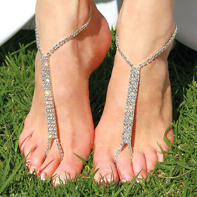 Barefoot Beach Sandals Bridal Wedding Rhinestone Anklet Foot Chain Jewelry JD