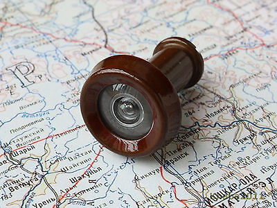 Russian Peephole Door Viewer, Metal Brown Lacquer body