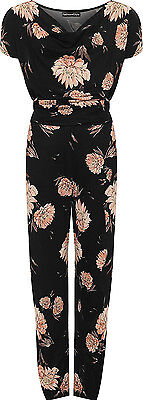 Womens Plus Size Cap Sleeve Tied Belted Floral Print/Plain Cowl Neck Jumpsuit