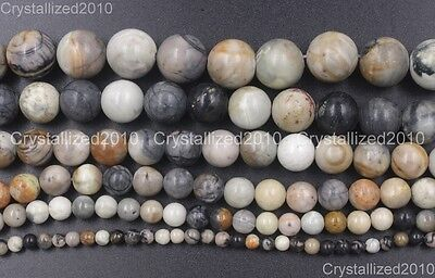 Natural Black Picasso Marble Gray Jasper Gemstone Round Beads 4mm 6mm 8mm 16""
