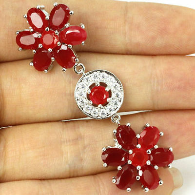 Stunning Red And White Crystal Long Flower Pendant 55X18Mm