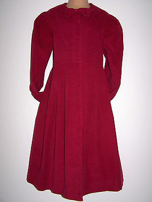 Laura Ashley vintage raspberry cotton needlecord girls dress 7-8 yrs made in GB