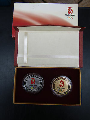 Official 2008 BEIJING OLYMPICS China SILVER Medal / Coin Set Cased + Outer