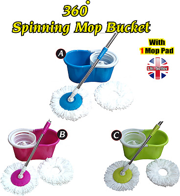 Floor Magic 360° Spin 15 Litre Mop Bucket Plastic Spinner and Microfiber
