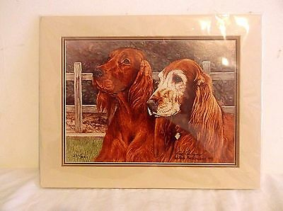 Irish Setter Art Print Signed by Artist Ron Arbogast Painting 8x10