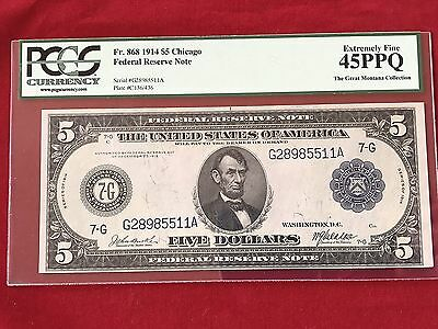 FR-868 1914 Series $5 Five Dollar Chicago Federal Reserve Note *PCGS 45 PPQ XF*