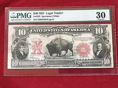 """FR-122  1901 Series $10 US Legal Tender Note """"Bison Note""""  *PMG 30 Very Fine*"""