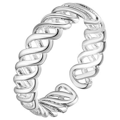 925 Sterling Silver Plated Adjustable Thumb/finger  Ring For Women Val Lattice