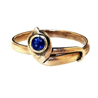 (1669) Vintage silver gold plated and sapphire ring