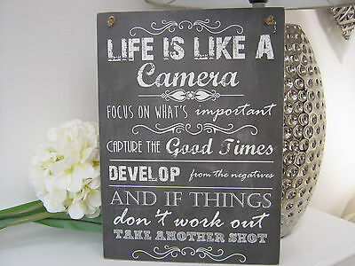 Handmade Wall Plaque Sign, Life Like a Camera Inspirational Quote Gift Friend