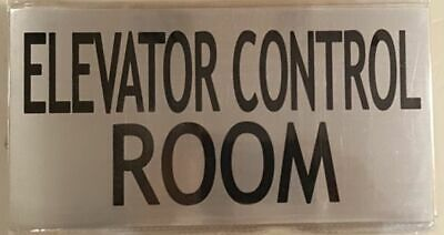ELEVATOR CONTROL ROOM SIGN – BRUSHED ALUMINUM with two sided tape (6X7.75)