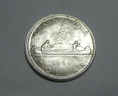 Near Proof Like 1966 Silver Canoe Dollar CANADA!  See Pics!