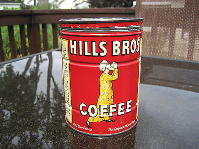Vintage Hills Bros. 2 Pound Coffee Can & Cover 1939/1952 - VGUC