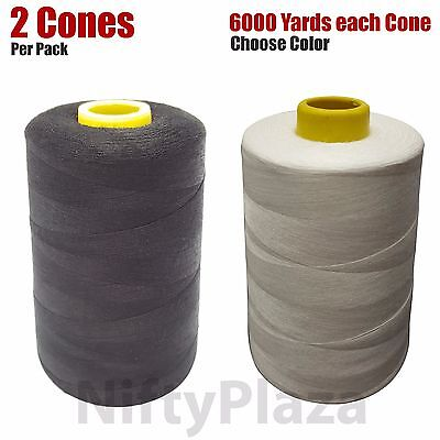 WHITE SEWING THREAD Spun Polyester10 CONES 6000 yards*THREAD COUNT 70//2 TEX 27*