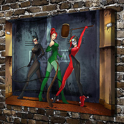 Catwoman Harley quinn Poison ivy HD Canvas Print Home Decor Wall Art Paintings