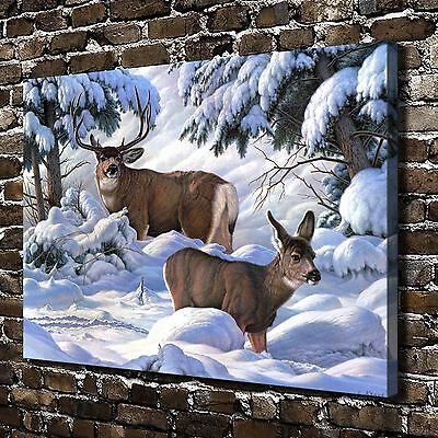 Animal Snow deer Paintings HD Print on Canvas Home Decor Wall Art Pictures