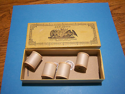 Vintage Thread J&P Coats USA Box and 4 Spools White Thread #70 and Needle