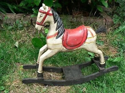 Vintage Miniature Wooden Bow Rocking Horse  Ideal For Old Teddies To Ride