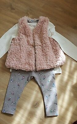 girls outfit age 18 months zara baby  pink fluffy gilet leggings & top