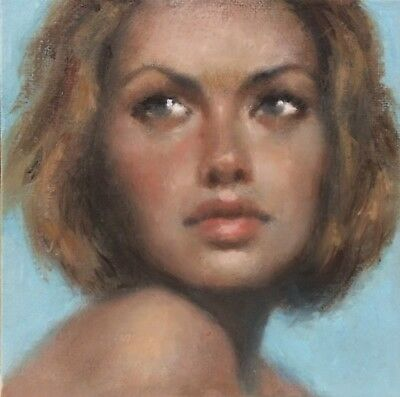"""Rencsi - """"Bright Eyes, Blue Skies"""" Painting A Day Portrait Woman Original Oil"""