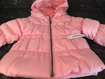 OLD NAVY Baby Girl Hooded Full Zip Puffer Jacket Coat Pink Size 12-18 Months NWT