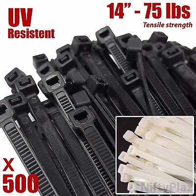 NiftyPlaza 14 Inch Cable Ties - 500 Pack - 75 lbs TENSILE Strength Wire Zip Ties