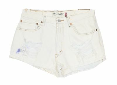 Levi's Womens 550 Distressed Frayed Relaxed Fit Denim Shorts 32 White 001-