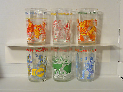 1971 Welch's Archie And The Gang Jelly Glasses Set Of 6 Great Condition
