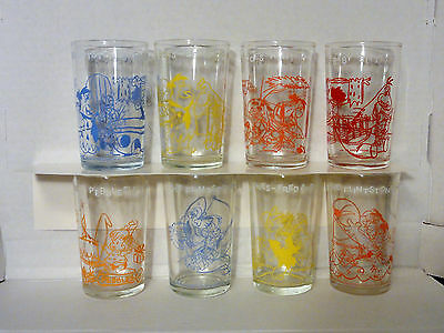 Welch's The Flintstones Jelly Glasses Set of 8 Glasses Are In Great Condition