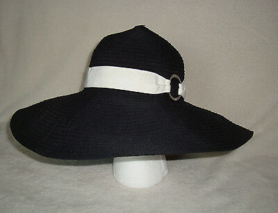 Lauren Ralph Lauren Women's Black Floppy Wide Brim Sun Hat Size M