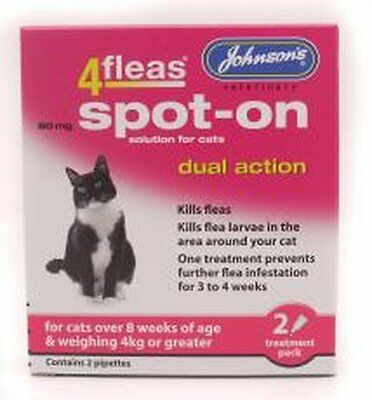 Johnson's 4Fleas Dual Action Spot On For Cats & Kittens For Cats OVER 4kg