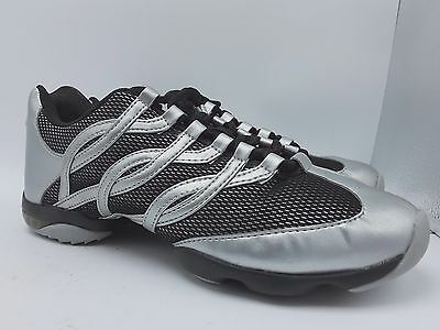 BLOCH Womens Silver Black Split Sole Jazz Hip-Hop Dance Sneakers Shoes Size 11