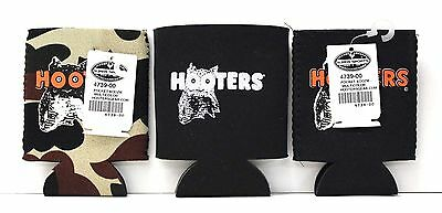 Lot of 3 Hooters Black/Camo Coozie Koozie Beer Drink Soda Can Insulated Cooler
