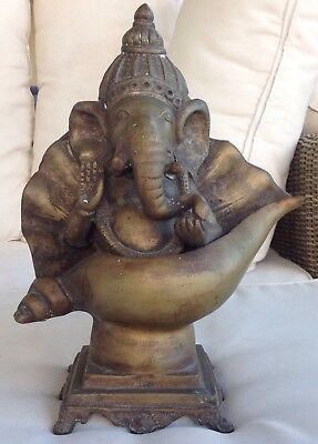 Antique Bronze Casting: Ganesha Sitting in Conch Shell