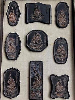 Fine RARE Chinese China Box set 18 Lohan Arhart w/ Calligraphy Poems Ink Stones