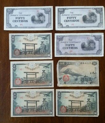 Japanese Currency 50 Centavos  notes lot