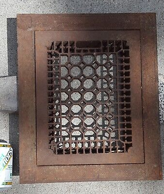 Antique Cast Iron Floor Grate Register Vent and Frame Ornate Design Victorian