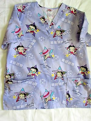Betty Boop size Large Scrub Top / purple