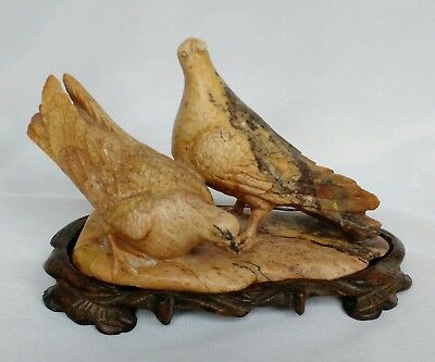 Superb Chinese soapstone figural group depicting a pair of birds Signed