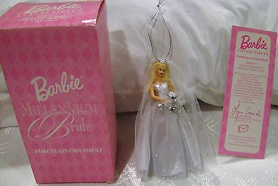 NIB Avon Collectible Barbie Millennium Bride Porcelain Ornament 2000 Caucasian