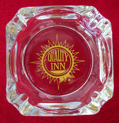 """Quality Inn Heavy Clear Glass Ashtray Old Yellow Logo Square Mint 3-3/4"""" Square"""