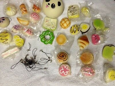 Lovely Jumbo 29pcs Soft Random Squishy Bread/Panda/Cake/Buns Phone Strap Kit