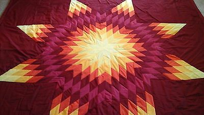 Multicolored star authentic Sioux native american star quilt  Red