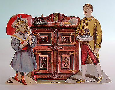 THE BUTLER'S PANTRY ~ 4 Piece Lion Coffee Trade Card Color Litho Paper Dolls