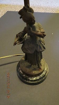 Antique Spelter Figural Lamp On A Marble Base~Made In Paris France~ Ornate~Works
