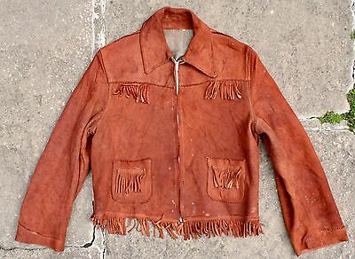 VTG 40s DEERSKIN LEATHER FRINGED WESTERN COWBOY JACKET USA TALON ZIP KIDS SIZE