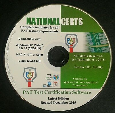 PAT TEST CERTIFICATES PAT TESTING FORMS Software !  P.A.T Genuine Product